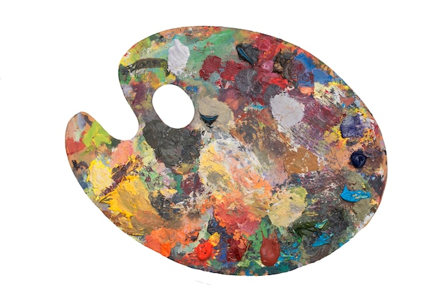The wooden palette of the artist isolated