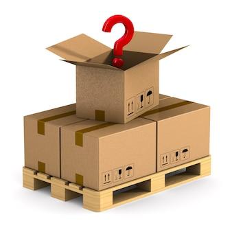 カーゴボックスが付いた木製パレットと質問の空白。分離された3dイラスト