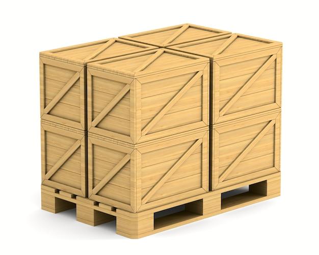 Деревянный поддон с грузовым ящиком на белом фоне. изолированная 3-я иллюстрация