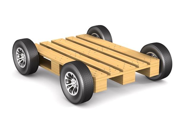 白いスペースに車輪付きの木製パレット。分離された3dイラスト