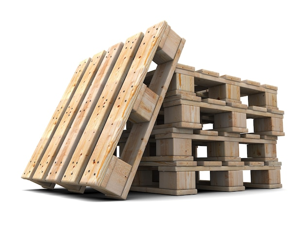 Wooden pallets stack isolated 3d illustration