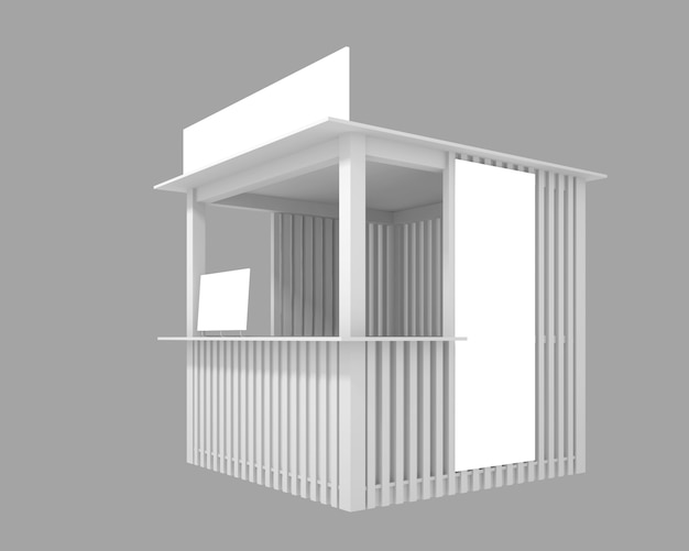 Wooden pavilion with space for advertising, 3d illustration