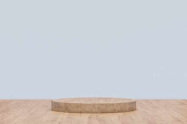 Wooden pedestal for display. empty product stand with geometrical shape. 3d render.