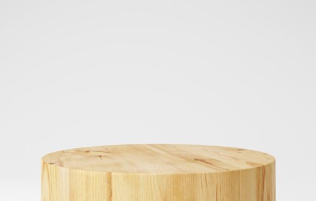 나무 받침대 연단, 둥근 모양, 제품 스탠드, 3d 렌더링.
