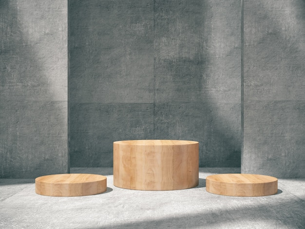 Wooden pedestal for product showing in concrete room