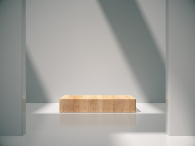 Wooden pedestal for product showing in white room