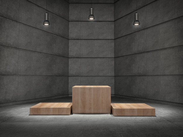 Wooden pedestals for product showing in concrete room with lamps