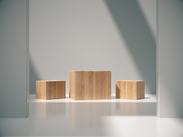 Wooden pedestals for product showing in white room