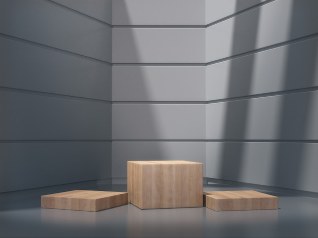 Wooden pedestals for show in white room