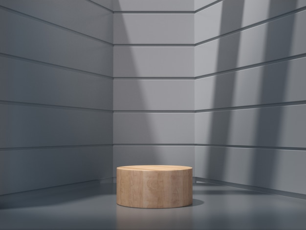 A wooden pedestals for show in white room
