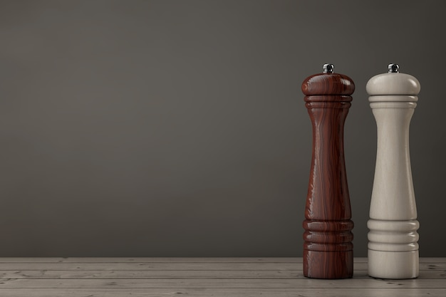 木製のテーブルの上の木製のペラーまたはソルトグラインダーミル。 3dレンダリング