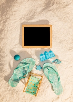 Wooden photo frame with blue beach attributes