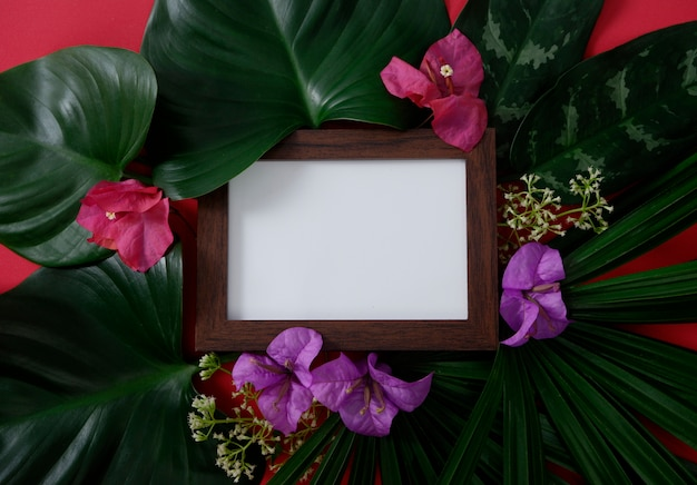 Wooden photo frame with space for text or picture on background of tropical leave and flower