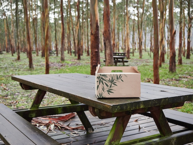 Wooden picnic table with a cardboard box for food in an outdoor area with trees