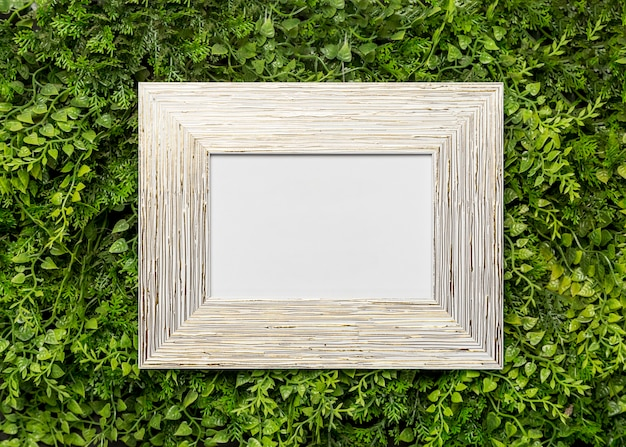 Wooden picture frame on green foliage