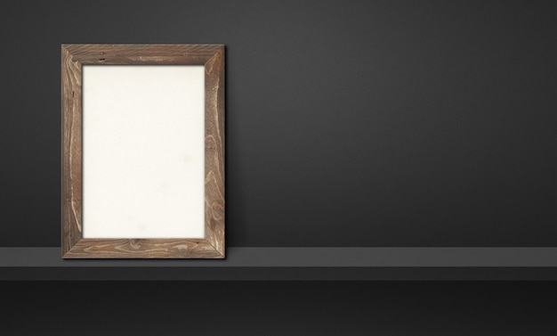 Wooden picture frame leaning on a black shelf. 3d illustration. blank mockup template. horizontal banner
