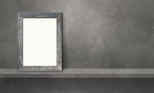 Wooden picture frame leaning on a grey shelf. 3d illustration. blank mockup template. horizontal banner