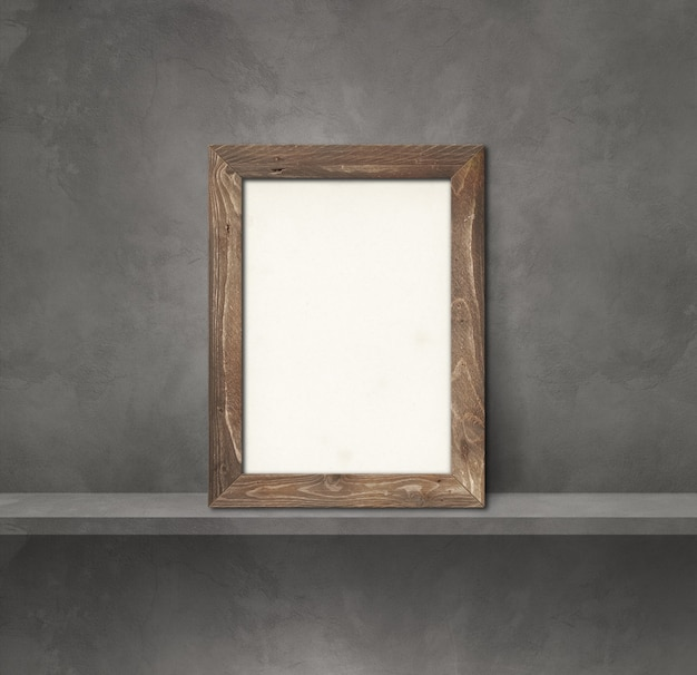 Wooden picture frame leaning on a grey shelf. 3d illustration. blank mockup template. square background