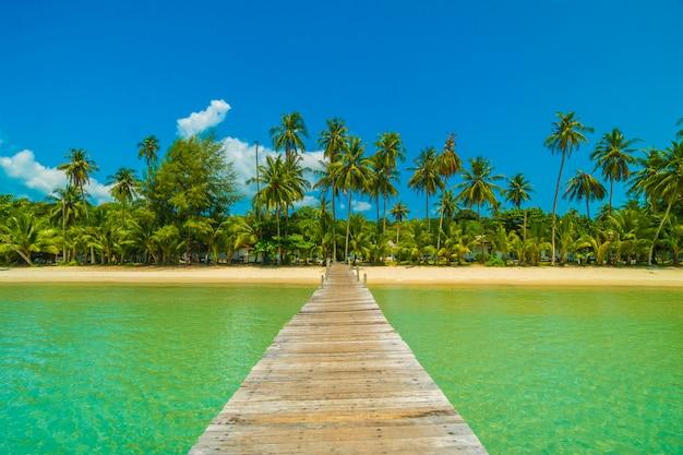 Wooden pier or bridge with tropical beach