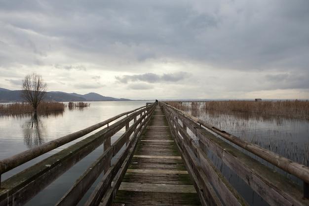 Деревянный пирс на озере тразимено в окружении тростника в пасмурный день в италии