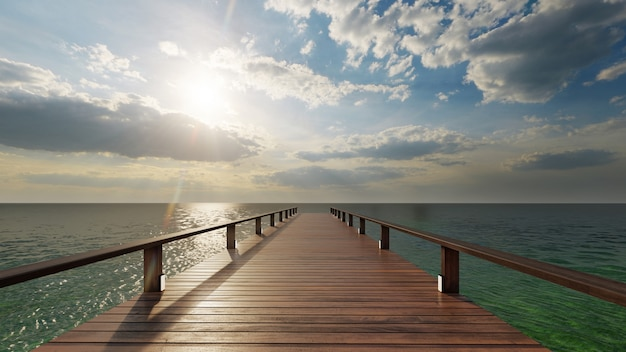 Wooden pier to the sea in daytime