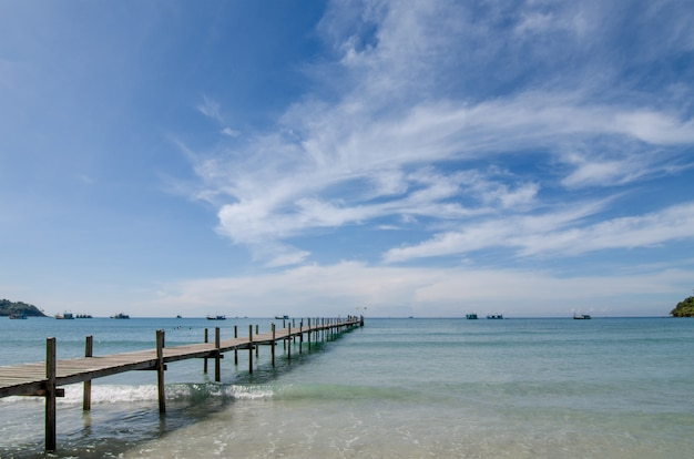 Wooden pier between sunset in phuket, thailand. summer, travel, vacation and holiday concept.