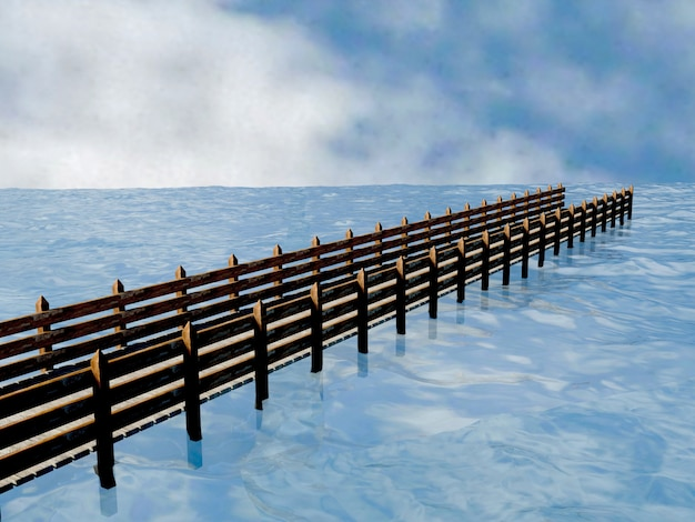 Wooden pier with background blue water river, water surface with ripples, 3d rendering