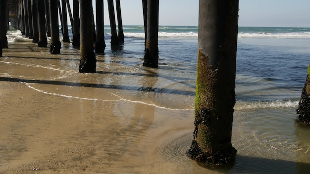 판자 아래 나무 더미, 부두 캘리포니아 해안 미국. 다리, 해변의 말뚝, 주탑 또는 기둥