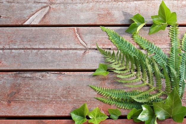 隅に緑のシダの葉と木の板の背景。テキスト用のスペースをコピーします。
