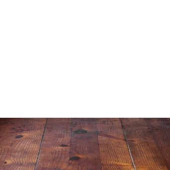 Wooden plank table in front of white background