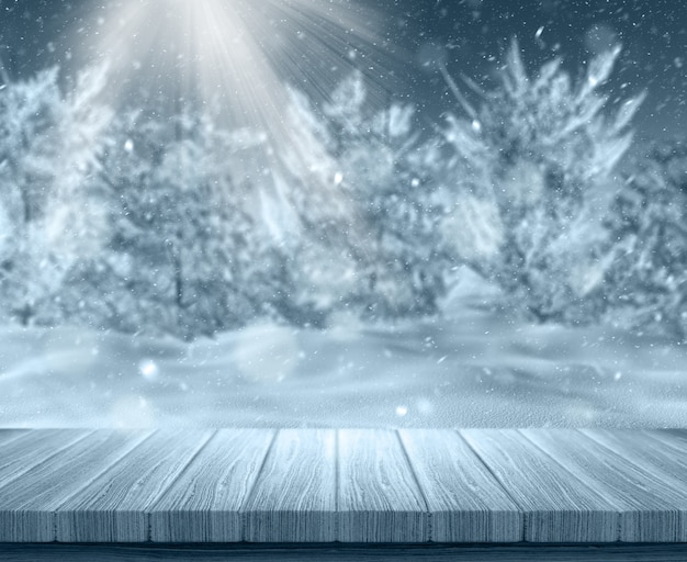Wooden plank with snowy landscape