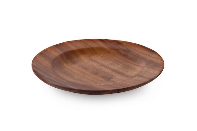 흰색 나무 접시에 고립 된 나무 접시