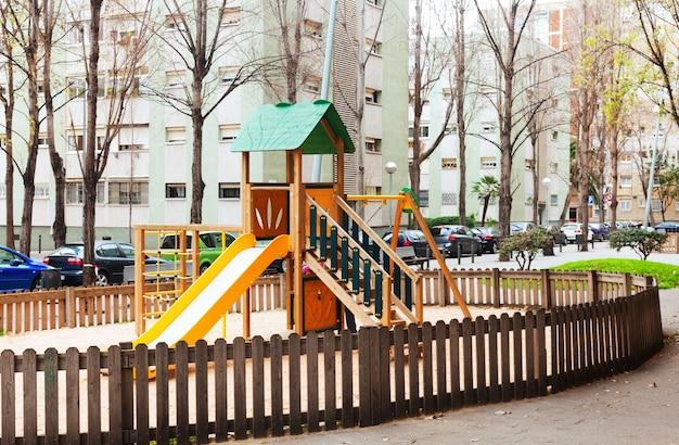 Wooden playground area