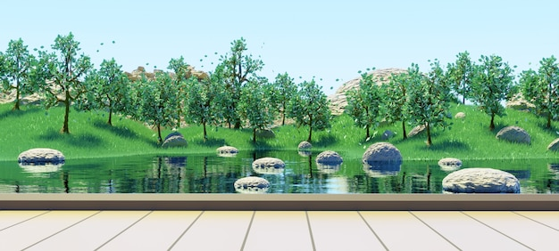 緑の草の夏の背景3dレンダリングで湖と緑の木々の森を見るための木製の台座