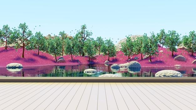 ピンクの草の夏の背景3dレンダリングで湖と緑の木々の森を見るための木製の台座