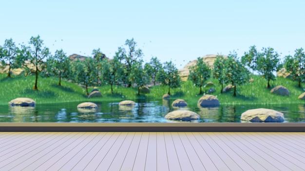 緑の木々と緑の草と湖の背景をぼかす木製の台座