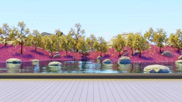 黄色の木とピンクの草と湖の背景をぼかす木製の台座