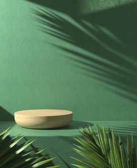 Wooden podium on green background