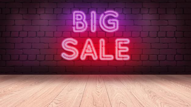 상품을 표시하기위한 나무 연단 테이블. 벽돌 벽, 큰 판매 3d 그림에 네온 사인