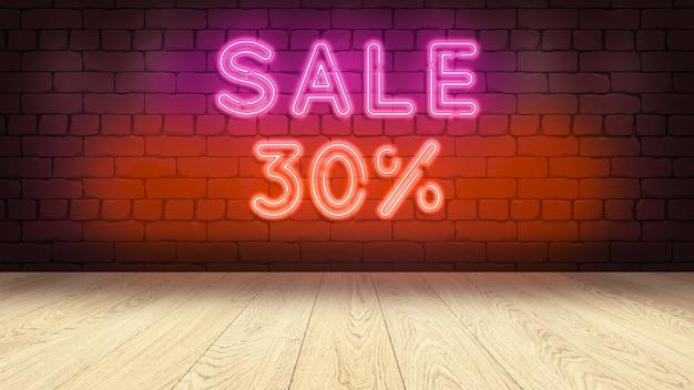 상품을 표시하기위한 나무 연단 테이블. 벽돌 벽에 네온 사인, 판매 30 퍼센트 3d 그림