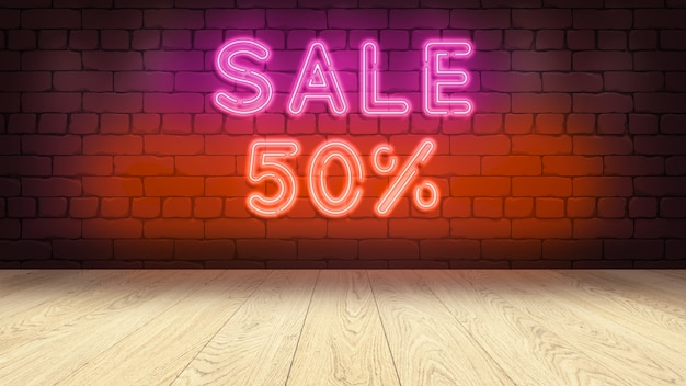 상품을 표시하기위한 나무 연단 테이블. 벽돌 벽에 네온 사인, 판매 50 퍼센트 3d 그림