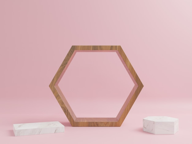 Wooden podium with marble pedestals all around with a pink background.