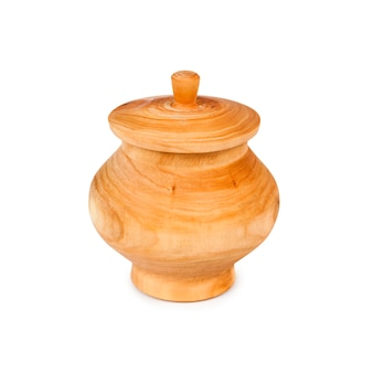 Wooden pot with lid isolated on white background