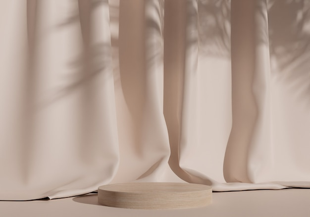 패브릭 커튼 배경이 있는 나무 제품 디스플레이 연단 스탠드. 3d 렌더링
