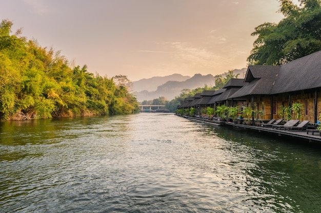 Wooden raft resort in tropical rainforest at river kwai
