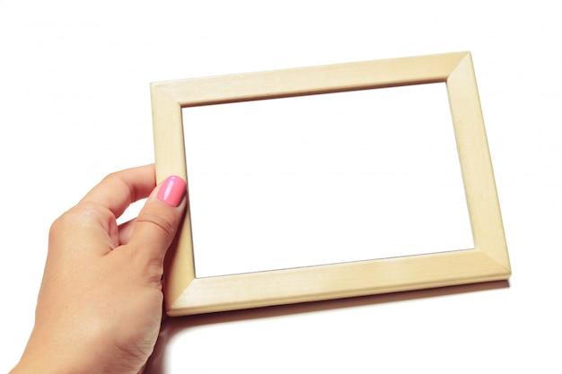 Wooden retro frame blank mockup