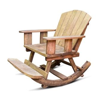 Wooden rocking chair isolated on white background