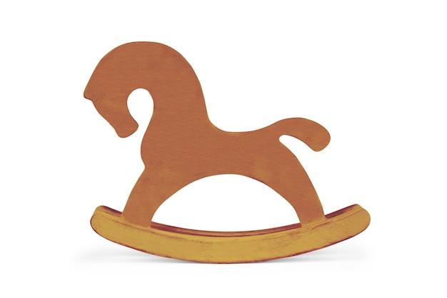 Деревянная лошадка-качалка на белом фоне
