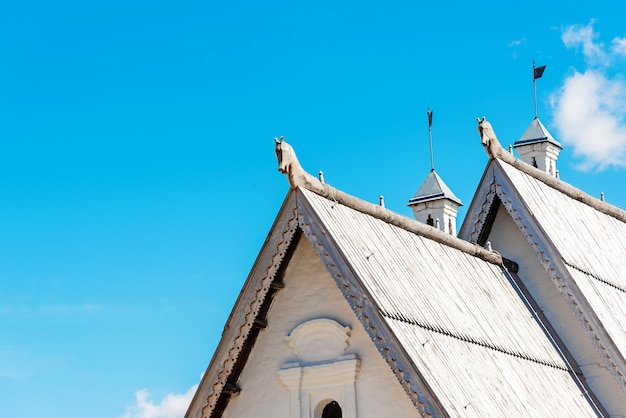 Wooden roof on antique house Premium Photo
