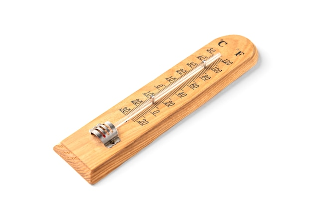 Wooden room thermometer isolated